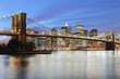 USA, New York City, Manhattan, The Brooklyn Bridge spanning the East River between Brooklyn and Manhanttan
