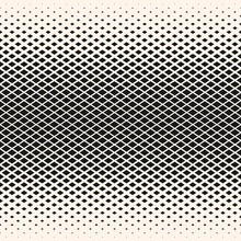 Vector Halftone Geometric Seamless Pattern With Diamond Shapes, Crystals, Rhombuses. Abstract Minimalist Monochrome Background With Gradient Transition Effect. Stylish Design For Decor, Covers, Prints