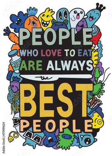 Fototapeta kolorowy napis do kuchni - miłość do jedzenia