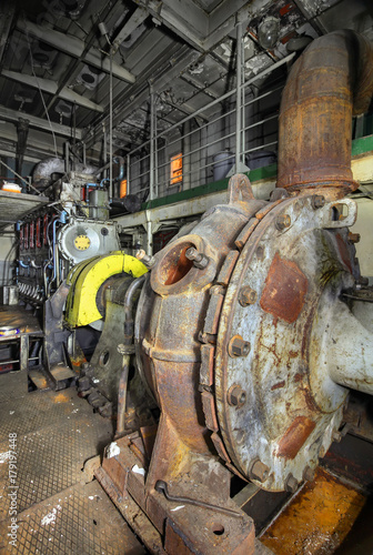 Battleship Engine Room: The Ship's Hold With Diesel Engine Mounted On Ship. Engine
