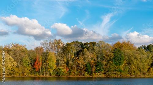 Scarlet Oak Pond In Autumn #179201080
