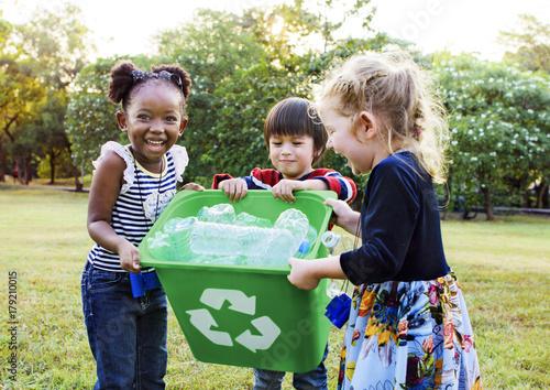 Group of kids school volunteer charity environment Fototapeta