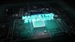 Hologram typo 'Marketing Strategy' on CPU chip circuit, artificial intelligence.