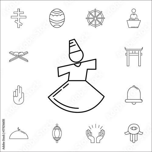 Dervish Yoga Sufi Mevlana Konya Icon Set Of Religion Icons Web
