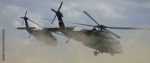 Photo Stands Helicopter Blackhawks in Flight