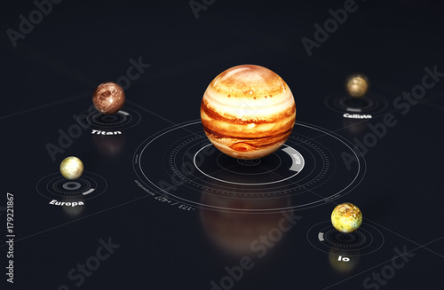 Jupiter - planet and moons Tableau sur Toile