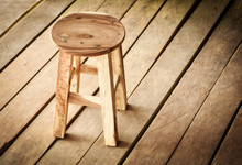 Rustic Round Wooden Stool On W...