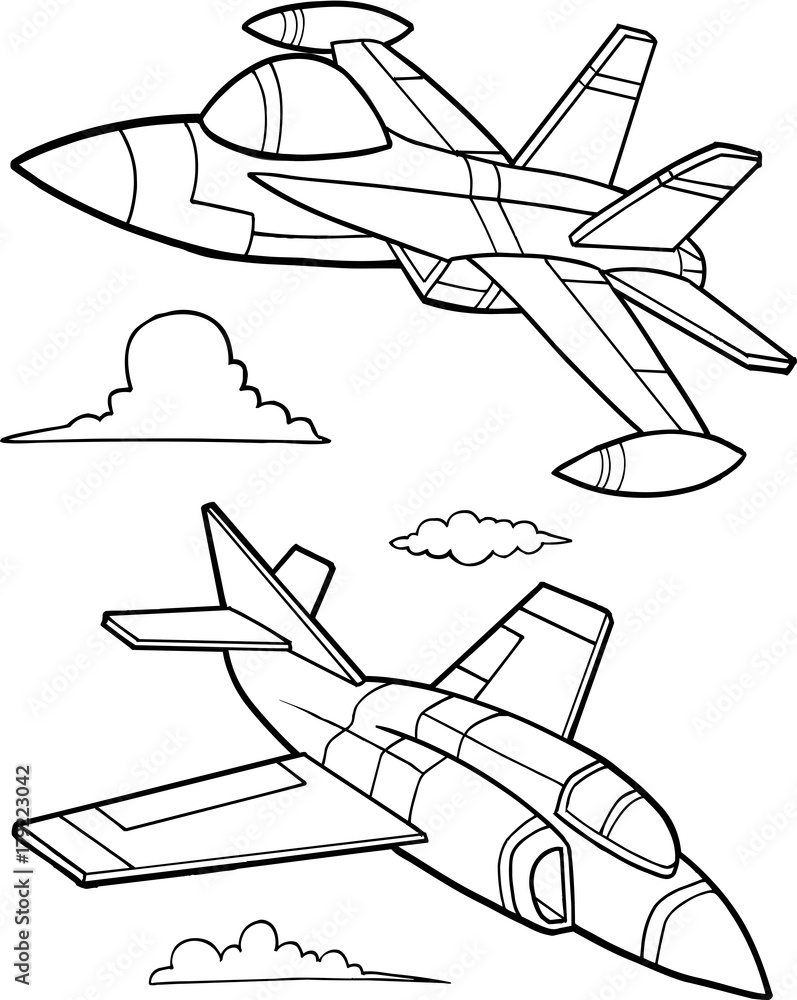Wall Murals Cute Military Aircraft Vector Illustration Art