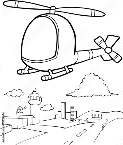 Montage in der Fensternische Cartoon draw Cute Helicopter Vector Illustration Art