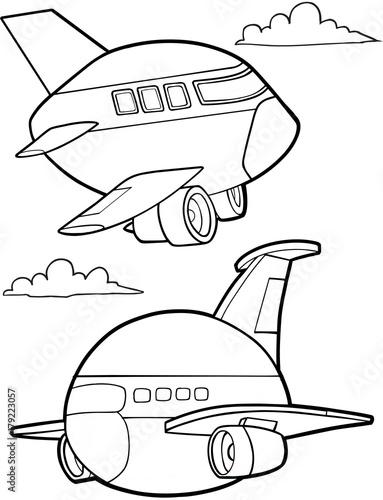 Foto auf Gartenposter Cartoon draw Cute Aircraft Vector Illustration Art