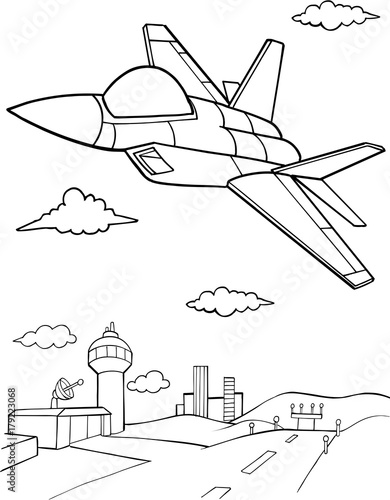 Poster de jardin Cartoon draw Jet Aircraft Vector illustration Art