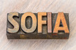 Sofia word abstract in wood type