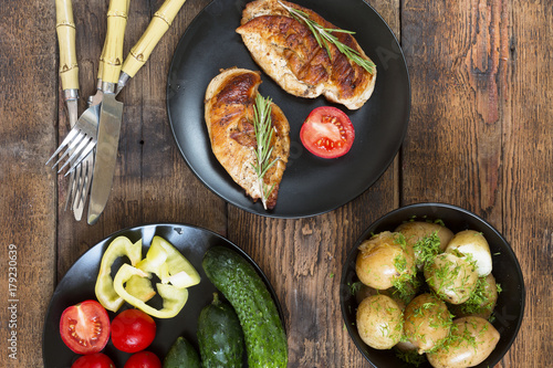 Authentic European dinner with young potatoes