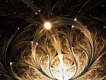 Shiny Golden Fractal Floral Pattern, Digital Artwork For Creative Graphic Design