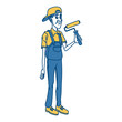 Cartoon worker with tool icon vector illustration graphic design