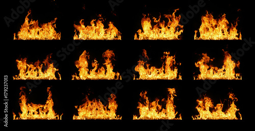 Fotobehang Vuur Fire flames collection isolated on black