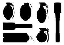 Set Of Hand Grenade Silhouettes