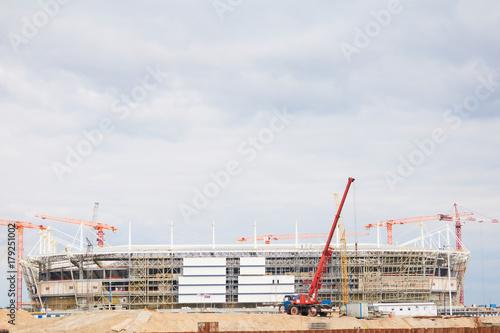 Foto op Plexiglas Cranes at work . Stadium construction. construction of sports facilities
