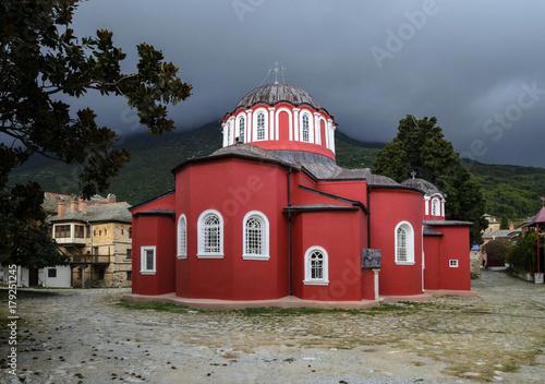 Photo Katholikon or the central church, Great Lavra Monastery, Mount Athos, Halkidiki,