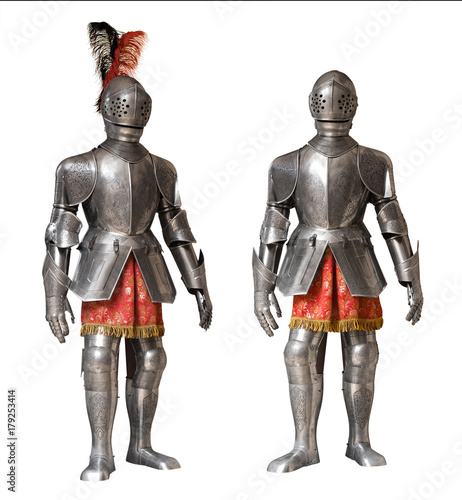 two knight armour suits, isolated Canvas Print