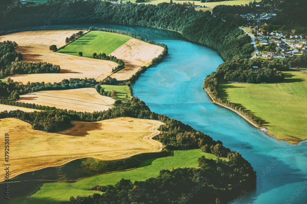 Fields and river aerial view rural Landscape nature ecology concept