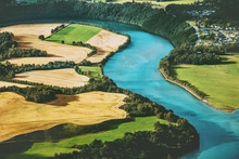 Fields And River Aerial View R...