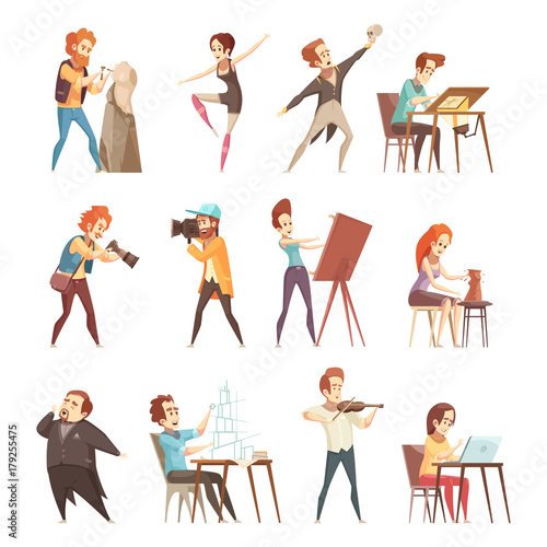 Fototapeta  Creative Professions Cartoon Icons Set
