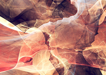 Abstract red and white motion composition. Fantastic smoke in bright colors. Modern futuristic background with lighting effect. Fractal artwork for creative graphic design.