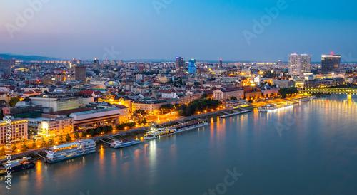 Foto op Aluminium Oude gebouw Aerial view of the Old Town in Bratislava, new bridge over Danube river with evening lights in capital city of Slovakia,Bratislava