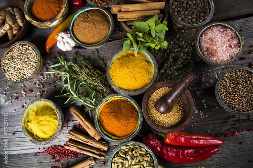 Fond de hotte en verre imprimé Herbe, epice Various spices selection