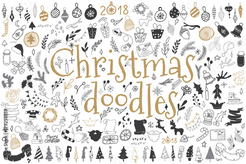 Obraz Big set of Christmas design elements in doodle style - fototapety do salonu