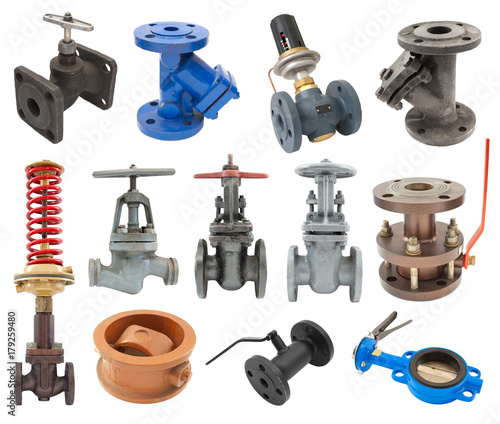 Photo set of flanged pipeline valves
