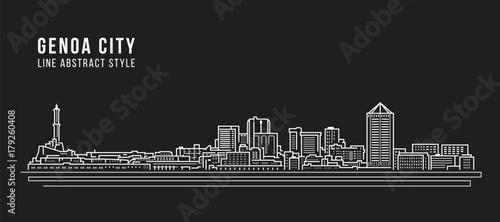 Cityscape Building Line art Vector Illustration design - Genoa city Obraz na płótnie