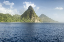 View Of The Famous Piton Mountains In St Lucia, Eastern Caribbean