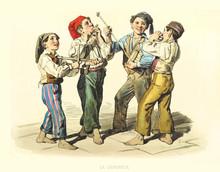 Kids Playing A Serenade With Ancient Musical Instruments. Old Illustration By F. Palizzi, Publ. On De Bourcard,  Usi E Costumi Di Napoli E Contorni Dipinti E Descritti, Ed. Nobile, Napoli, 1853-58