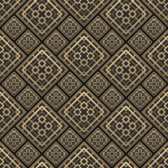 Panel Szklany Art Deco Seamless pattern in Art Deco style. Black and golden tilework. 3d effect ceramic tiles. Luxury background.