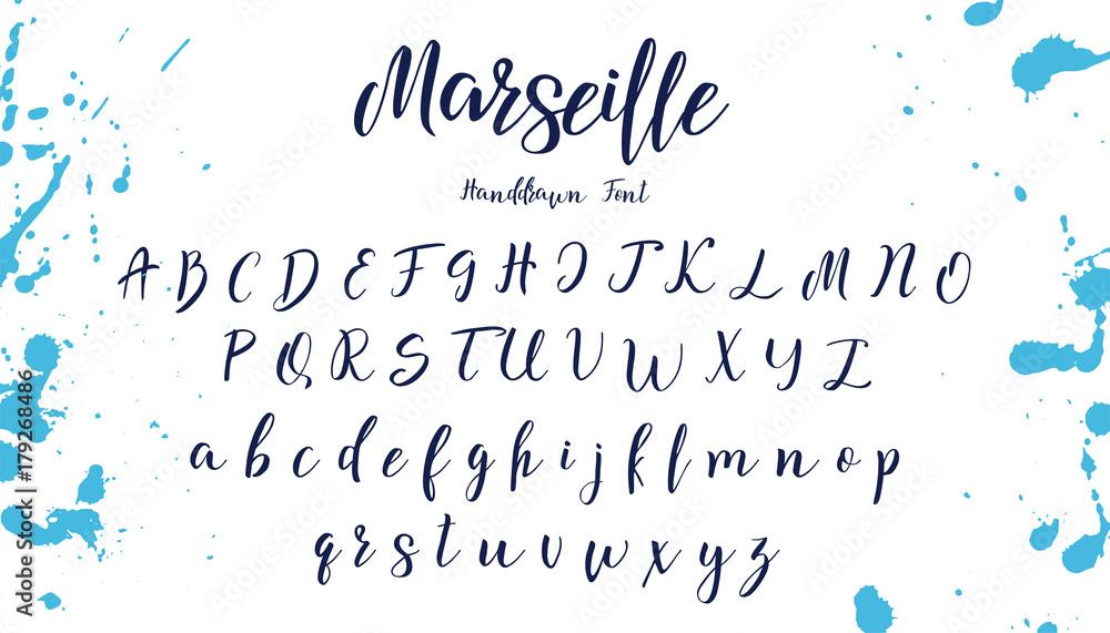 Fototapeta Handwritten calligraphy font. Vector alphabet. Hand drawn letters