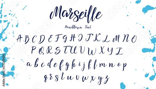 Handwritten calligraphy font. Vector alphabet. Hand drawn letters Fotobehang