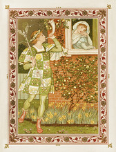 Woman Listening Through The Window To Man Playing Hunting Horn. Medieval Romantic Context Inside A Floral Frame. Old Colorful Illustration By Crane And Greenaway, The Quiver Of Love, Ed. Marcus Ward.
