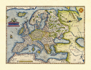 Fototapeta Mapy Old map of Europa. Excellent state of preservation realized in ancient style. All the graphic composition inside a frame. By Ortelius, Theatrum Orbis Terrarum, Antwerp, 1570