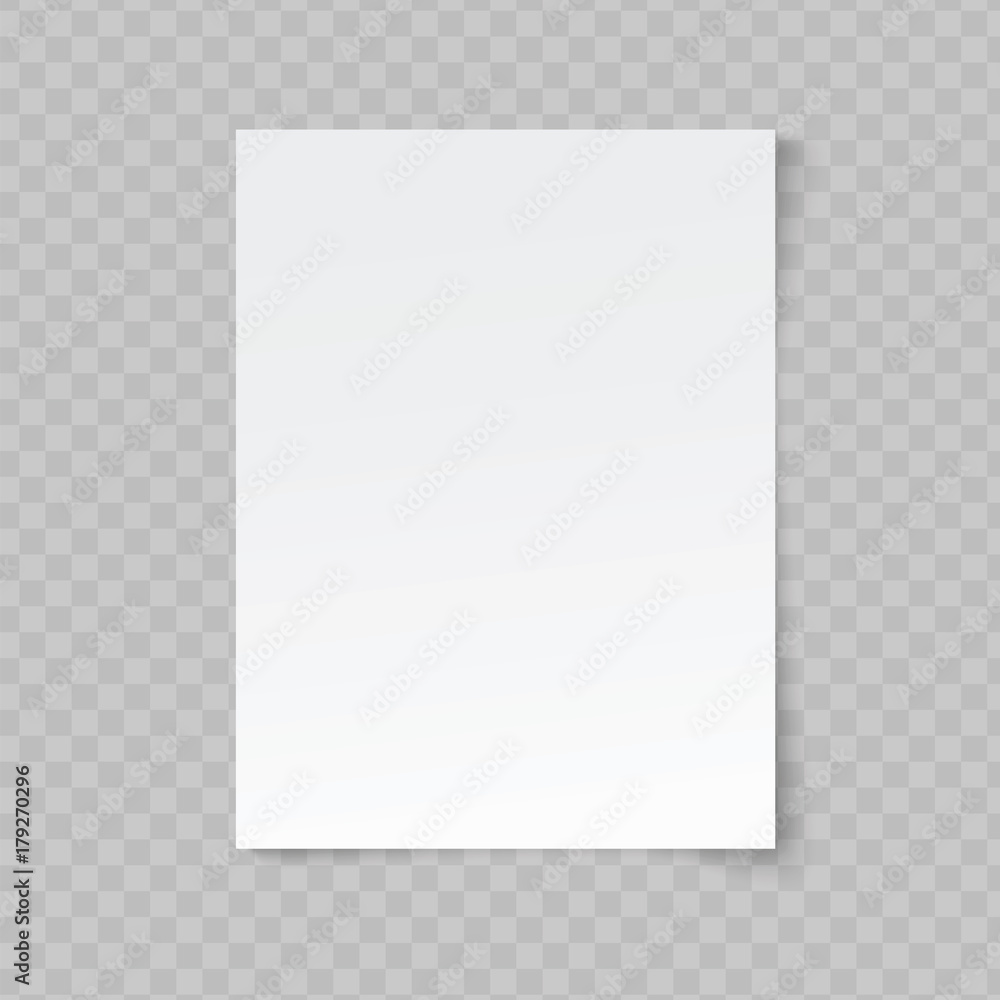 Fototapety, obrazy: Vector blank sheet of paper on transparent background.