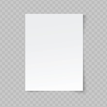 Vector Blank Sheet Of Paper On Transparent Background.