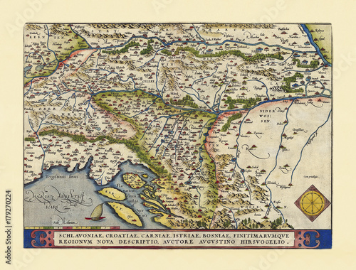 Old map of Slovenia Canvas Print