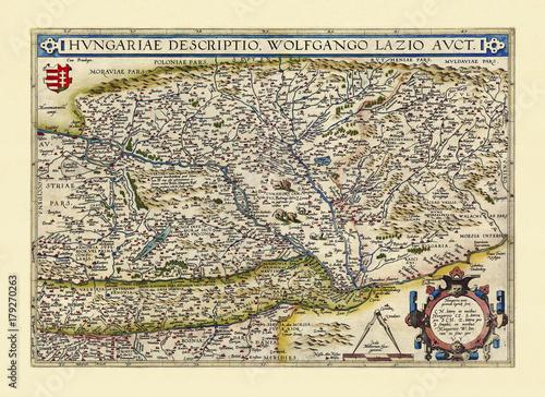 Carta da parati Old map of Hungary