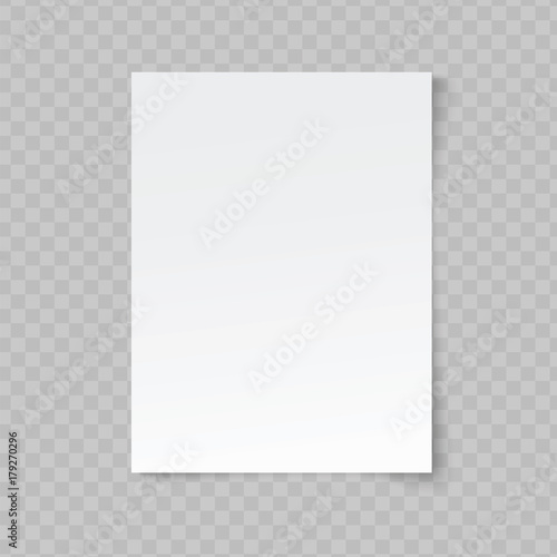 Fotografia  Vector blank sheet of paper on transparent background.