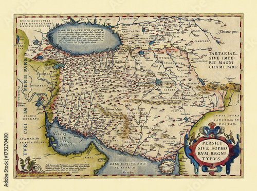 Obraz na płótnie Old map of Persia Excellent state of preservation realized in ancient style All the graphic composition is inside a frame By Ortelius, Theatrum Orbis Terrarum, Antwerp, 1570