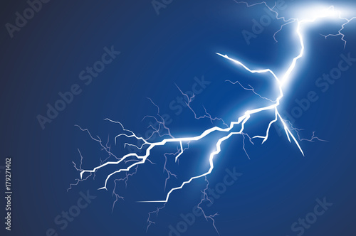 Valokuvatapetti Lightning and thunder bolt, glow and sparkle effect, vector art and illustration