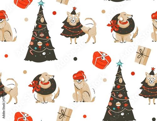 Stoffe zum Nähen Handgezeichnete Vektor abstrakte Spaß Frohe Weihnachten Zeit Cartoon Illustration Musterdesign mit viele Hunde im Urlaub Kostüm und Xmas Bäume isoliert auf weißem Hintergrund