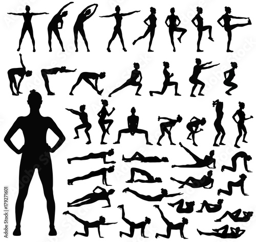 Fotografía  Big set of black silhouettes of woman doing fitness workout.