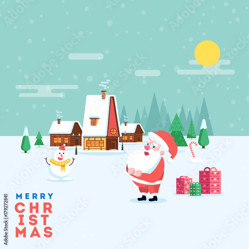 Cute happy smiling cartoon santa and snowman on winter village ...